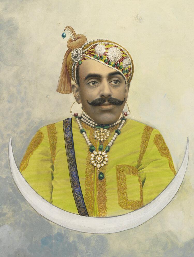 Hand painted photograph of Bhupal Singh, Maharana of Udaipur. ROM 2004.36.1